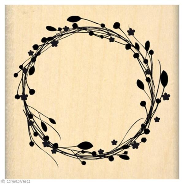 Tampon C'est le printemps - Couronne de fleurs - 6 x 6 cm - Photo n°1