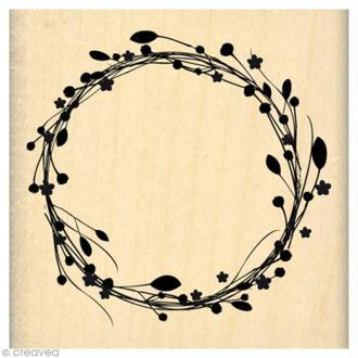 Tampon C'est le printemps - Couronne de fleurs - 6 x 6 cm