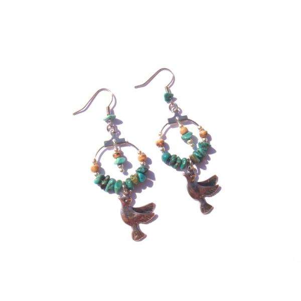 Boucles oreilles Turquoise, Coco, Colombe 6,8 CM de hauteur - Photo n°2