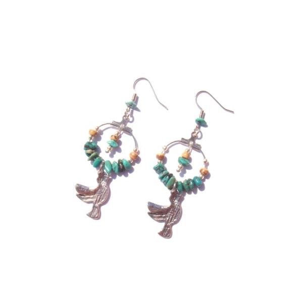 Boucles oreilles Turquoise, Coco, Colombe 6,8 CM de hauteur - Photo n°3