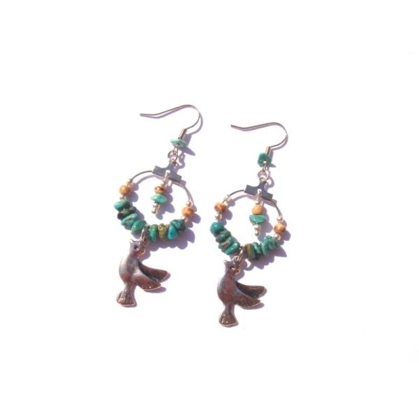 Boucles oreilles Turquoise, Coco, Colombe 6,8 CM de hauteur - Photo n°1