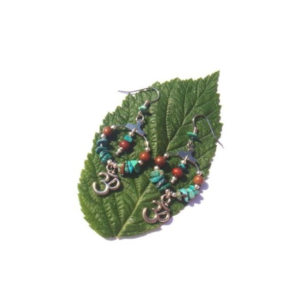 Boucles oreilles Turquoise, Bois Bayong, Ohm 6,8 CM de hauteur - Photo n°3