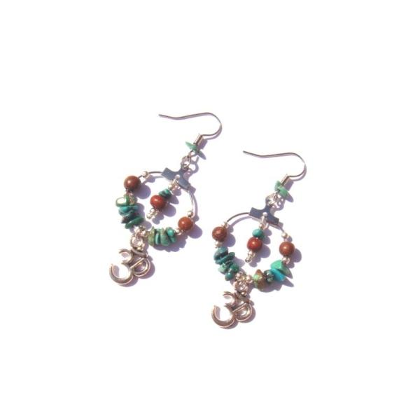 Boucles oreilles Turquoise, Bois Bayong, Ohm 6,8 CM de hauteur - Photo n°1