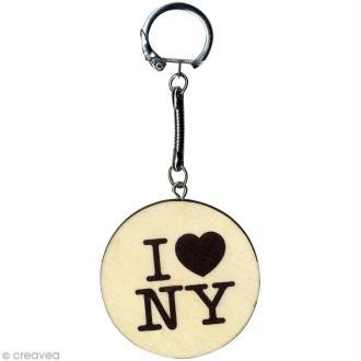 Porte clés Cities New York en bois - 5 x 5 cm