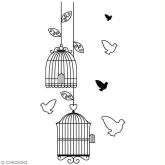 Tampon Amour - Cages à oiseaux - 6,6 x 3,7 cm