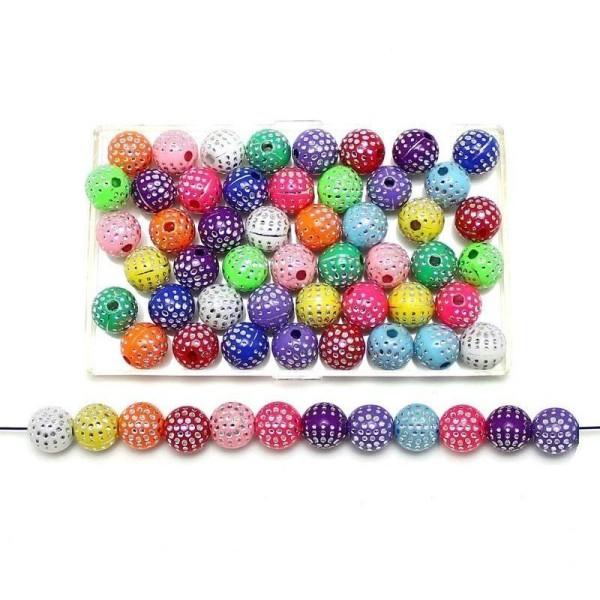 50 Perles en Acrylique 6mm Mix Multiple Point Argenté création bijoux, bracelet, colier - Photo n°1