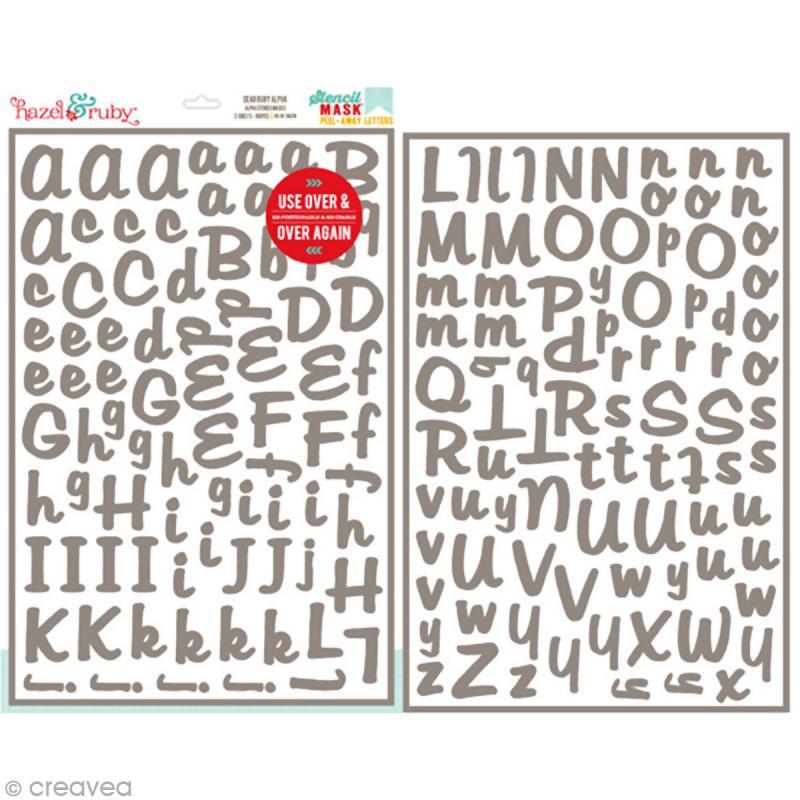 pochoir invers lettre alphabet dear ruby 30 5 x 46 cm pochoir invers creavea. Black Bedroom Furniture Sets. Home Design Ideas