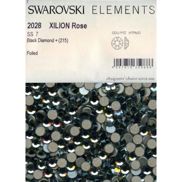 2028 SS7 BD *** 80 strass Swarovski fond plat NO hotfix,2,2mm BLACK DIAMOND - Photo n°2