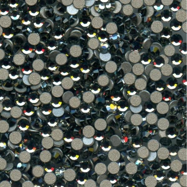 2028 SS7 BD *** 80 strass Swarovski fond plat NO hotfix,2,2mm BLACK DIAMOND - Photo n°1