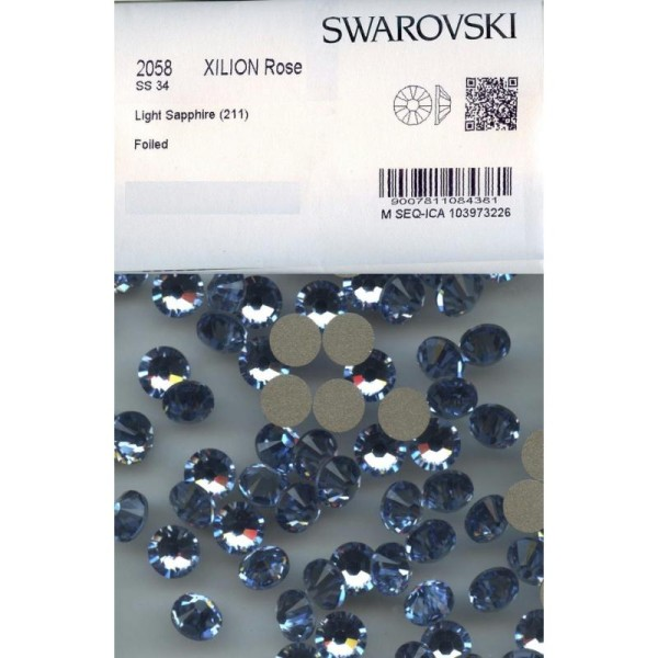 2058 SS34 PA *** 8 STRASS SWAROVSKI FOND PLAT 7,2mm  PADPARADSCHA F
