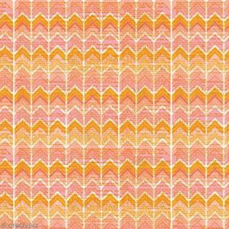 Papier cadeau imprimé - Chevrons corail - 3 feuilles 46 cm x 1,2 m
