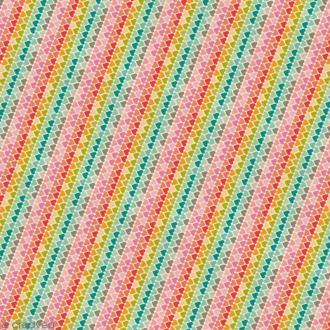 Papier cadeau imprimé - Coeurs multicolores - 3 feuilles 46 cm x 1,2 m