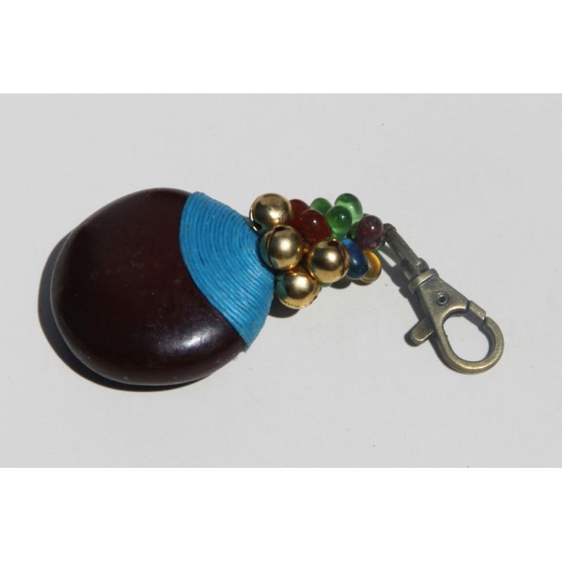 porte cl avec mousqueton et graine fil de coton bleu