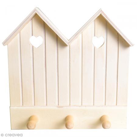 pat re en bois cabine de plage 3 plots porte. Black Bedroom Furniture Sets. Home Design Ideas