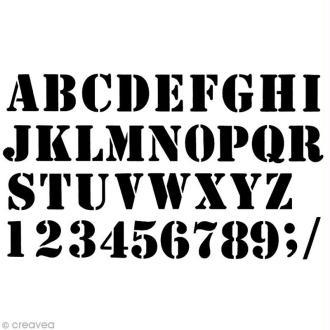 Pochoir home déco 42 x 25 cm - Alphabet industriel
