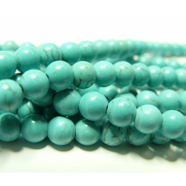 1 fil de 60 perles Turquoise reconstité Howlite couleur Bleu Turquoise 6mm H1922 - Photo n°1