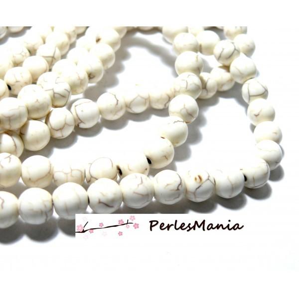 1 fil de 60 perles Turquoise reconstité Howlite couleur Blanc 6mm H19261 - Photo n°1