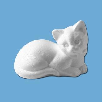 Chat couché en polystyrène 14 cm