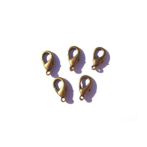 5 Fermoirs mousqueton couleur bronze sans nickel/plomb/cadmium 16 MM - Photo n°1