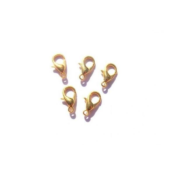 5 Fermoirs mousqueton couleur doré sans nickel/plomb/cadmium 16 MM - Photo n°1