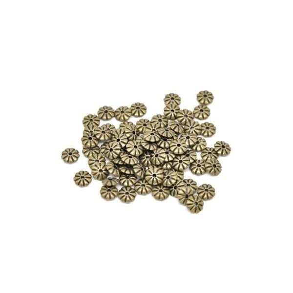 100 Perles Intercalaires Fleur Couleur bronze 7x2mm - Photo n°1