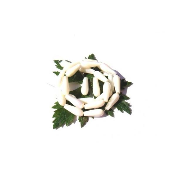 Nacre blanche : 2 Gouttes 15 MM de hauteur x 6 MM de diamètre max - Photo n°1