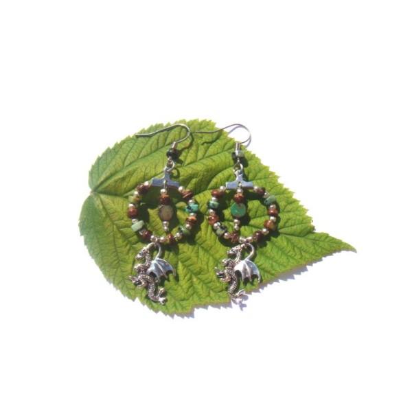 Turquoise Africaine, Coco, Dragon : Boucles Oreilles 6,4 CM de hauteur - Photo n°2