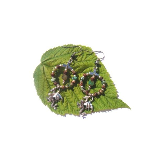 Turquoise Africaine, Coco, Dragon : Boucles Oreilles 6,4 CM de hauteur - Photo n°3