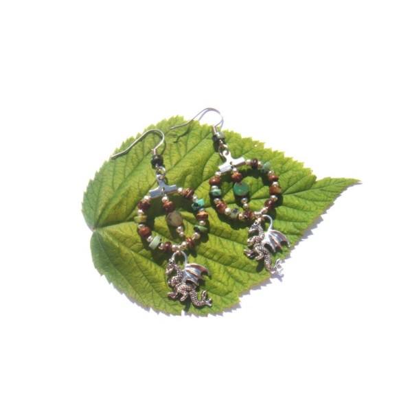 Turquoise Africaine, Coco, Dragon : Boucles Oreilles 6,4 CM de hauteur - Photo n°1