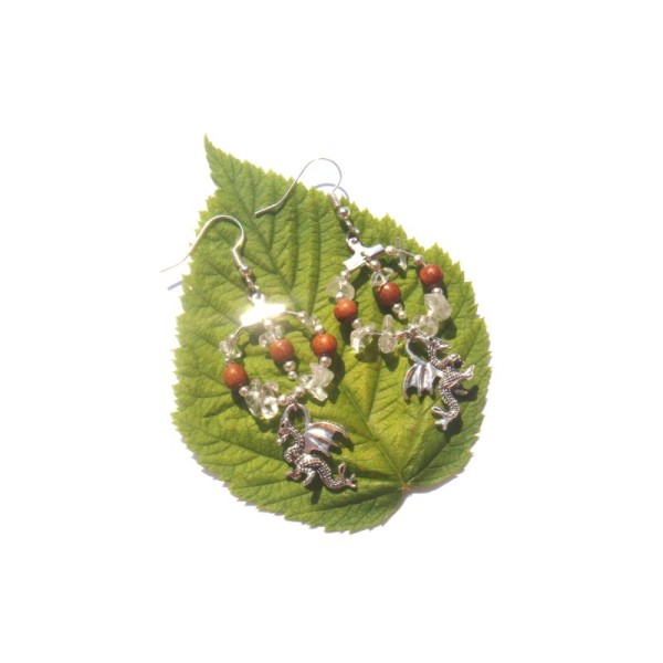 Cristal de Roche, Bois Bayong, Dragon : Boucles Oreilles 6,7 CM de hauteur - Photo n°3