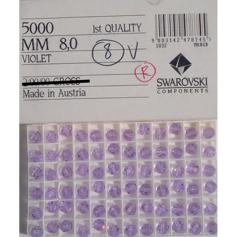 5000 8 LA ** 6 perles cristal RONDES de Swarovski 8 mm LIGHT AMETHYST