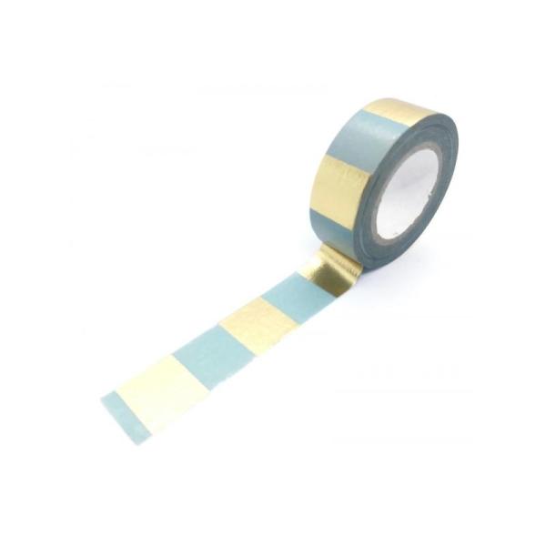 rouleau Washi Tape 10m - Rayures Dorées BOUQUET SAUVAGE - Photo n°1