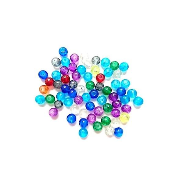 200 Perles Craquelées en Verre Rond Couleur au Hasard 6mm - Photo n°1