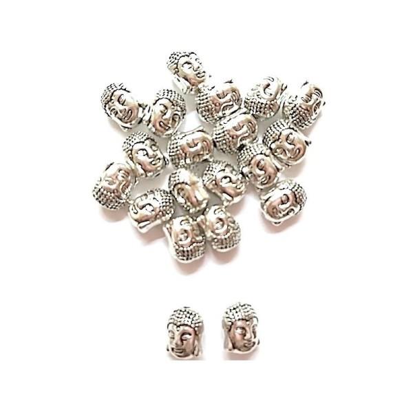 20 Perles Argent Vieilli Bouddha Gravé 11mm x 9mm - Photo n°1