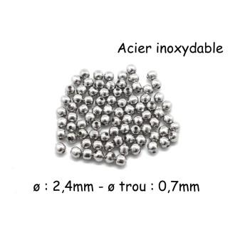 100 Petites Perles Ronde En Acier Inoxydable Argenté 2,4mm