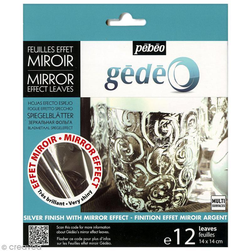 Feuilles effet miroir g d o argent 12 pcs feuilles for Peinture effet miroir
