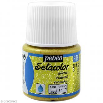 Peinture tissu Setacolor Pébéo - Tissus clairs Pailletée - Doré - 45 ml