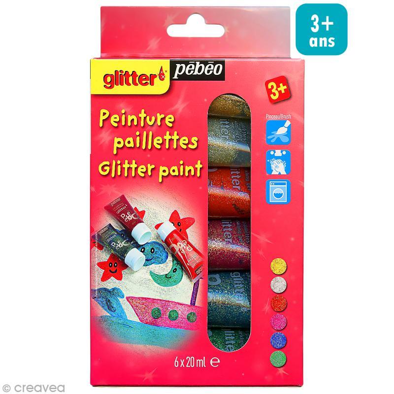 Kit d couverte peinture paillettes 6 x 20 ml kit de gouache creavea for Peinture a paillette avis