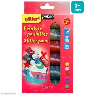 Kit découverte - Peinture Paillettes - 6 x 20 ml