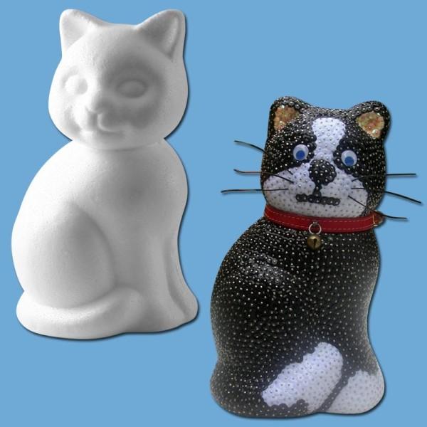 Chat assis en polystyrène 14 cm - Photo n°1