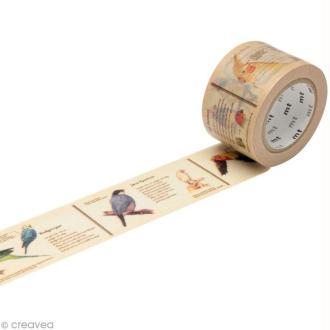 Masking Tape large - Beige - Encyclopédie oiseaux - 30 mm x 10 m
