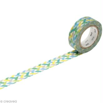 Masking Tape - Vert multicolore - Traits - 15 mm x 10 m
