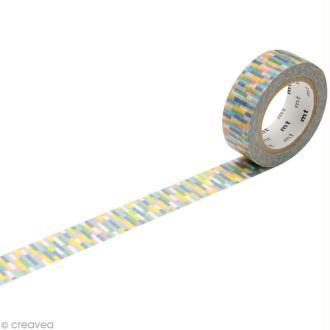 Masking Tape - Bleu multicolore - Rectangles - 15 mm x 10 m