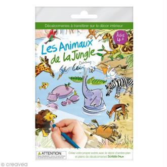 Planche décalcomanies - Les animaux de la jungle + décor