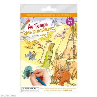 Planche décalcomanies - Au temps des dinosaures + décor