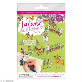Planche décalcomanies - La course de chevaux + décor