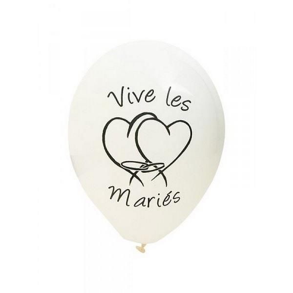 Lot de 8 Ballons de baudruche Blanc, Imprimé noir Vive les Mariés, diam. 28 cm - Photo n°1