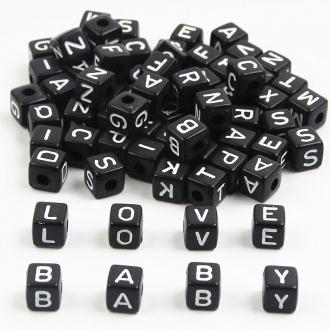 5 Perles Mixte Alphabet 10mm Acrylique Noir Ecriture Blanc, Creation Attache tetine