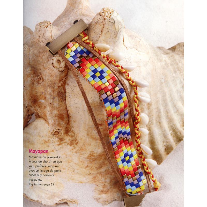 Livre manchettes br siliennes en perles ruban cie bracelet br silien creavea - Bracelet perle et ruban ...