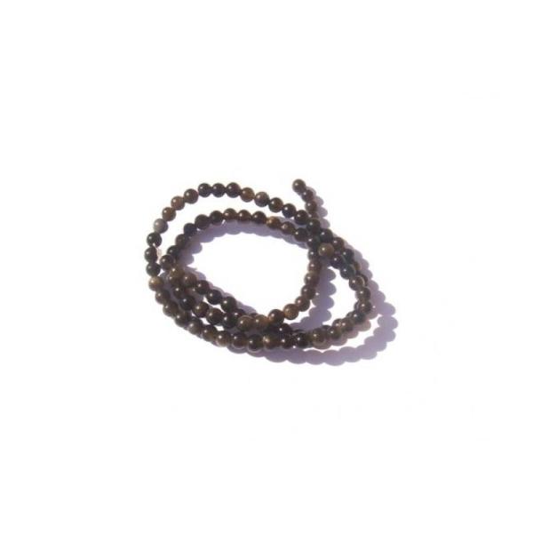 VERRE façon Obsidienne dorée : fil 95 perles 4 MM de diamètre environ - Photo n°1